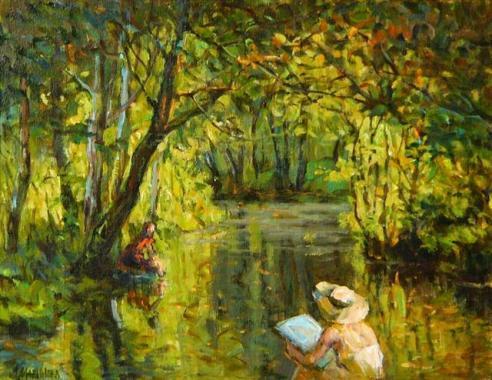 """Лора Маринова - """"Край реката"""" (маслени бои)."""